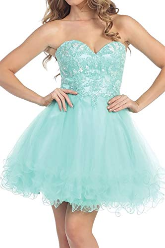 IVYPRECIOUS Women's Sweetheart Lace Beading Homecoming Dresses Short Party Dresses Organza Size 16 US Tiffany Blue