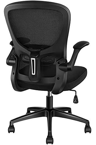 オフィスチェア パソコンチェア 跳ね上げ式アームレスト 椅子 デスクチェア 事務椅子 勉強椅子 メッシュチェア PCチェア キャスター付き テレワークチェア コンパクト 通気性 ロッキング機能 静音キャスター 厚手 座面360度回転 (Black)