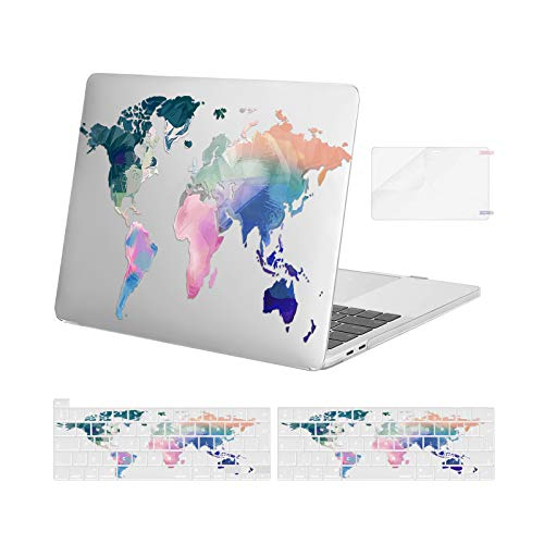 MOSISO Compatible with MacBook Pro 13 inch Case 2016-2020 Release A2338 M1 A2251 A2289 A2159 A1989 A1706 A1708, Plastic Map Hard Shell Case & Keyboard Cover Skin & Screen Protector, Transparent