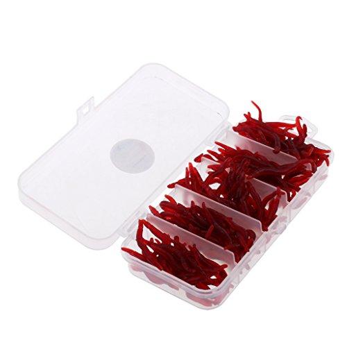 Homyl 150 Stück Künstliche Würmer Gummiwürmer Forellenköder Regenwurm 4cm - Rot