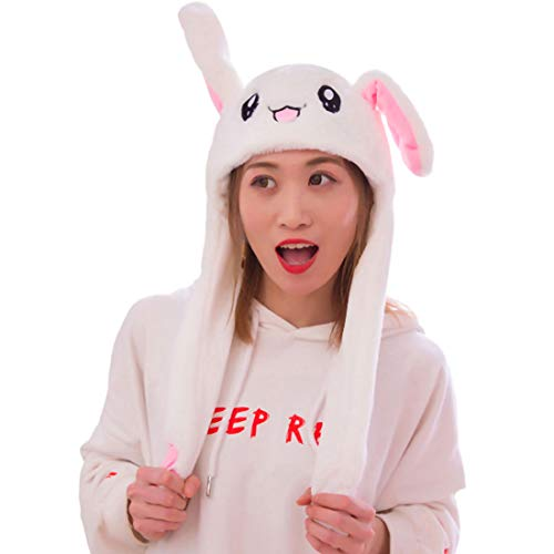 IronBuddy Rabbit Hat Ear Moving Jumping Hat Funny Bunny Plush Hat Cap for Women Girls, Cosplay Christmas Party Holiday Hat (White)
