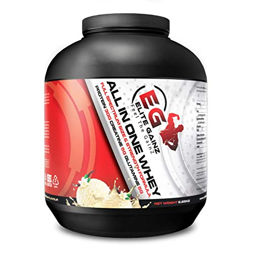 All in One Whey Fuel Your Strength All-in-One Muscle Builder Whey Protein Shake, with 5g Creatine, HMB, 5g Glutamine, 30g Protein for Ultimate Recovery, Per Serving. (Vanilla Ice Cream, 2.25 KG)