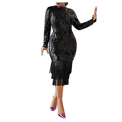 ?Women's Long Sleeve Sequins Embellished Vintage Cocktail Dresses Sequins Dresses Tassels Pencil Dress Oldlover S-3XL