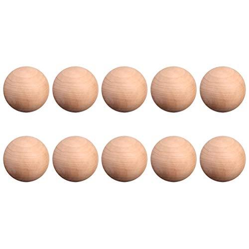 LIOOBO 10 Piezas de Bola Redonda de Madera, Bolas de Madera Dura Redondas Naturales sin terminar, Bolas de Abedul Lisas, para Manualidades y proyectos de Bricolaje