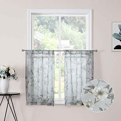Tollpiz Sheer Tier Curtains Grey Flower Leaf Printed Floral Embroidered Half Window Curtain Sheers Rod Pocket Kitchen Voile Faux Linen Curtains for Bathroom, 30 x 36 inches Long, Set of 2 Panels