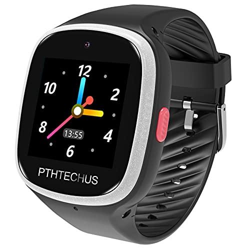 Bambini Smartwatch Impermeabile con GPS Tracker, Touch screen HD Orologio Telefono con Localizzatore GPS Chat Vocale SOS Gioco Sveglia da Polso Regalo Ragazzi Ragazze (W003-Black)