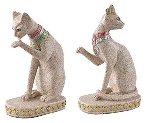 Escultura de escritorio Egipcio gato dios estatua arenisca natural artesanía tallado escultura joyería animal decoración del hogar decoración de escritorio estatuillas
