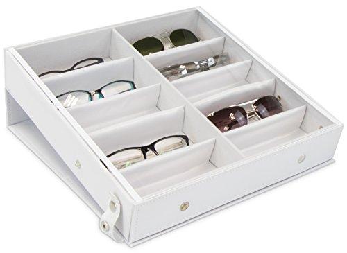 Grinscard Brillenbox zur Aufbewahrung von 10 Brillen - Weiß ca. 32 x 32 x 6 cm - Sonnenbrillen Präsentation Showcase