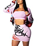 ECHOINE Women's Sexy 2 Piece Suits Crop Top Mini Skirt Bodycon Clubwear Dresses Sets Pink XL