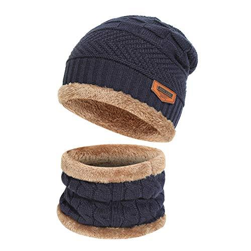 Bequemer Laden Kinder Winter Mütze Schal Set Warm Strickmütze Beanie Hut Schlauchschal mit Fleece-Futter für Kinder Jungen Mädchen, Zwei Stücke
