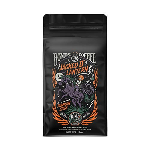 Bones Coffee Company Flavored Coffee Beans, Jacked 'O' Lantern Pumpkin Spice Ground Coffee Beans, Low Acid Medium Roast Gourmet Coffee Beans (Ground)