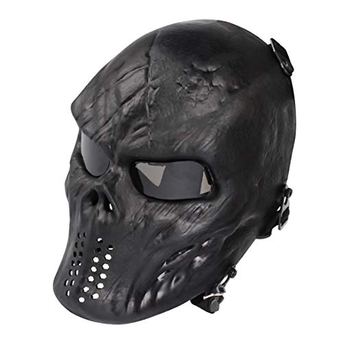 Airsoft Maske mit Schutzbrille Halloween Skull Schutzmaske Taktische Full Face fur Paintball Softair CS Partyspiel Schwarz & Grau Linsen