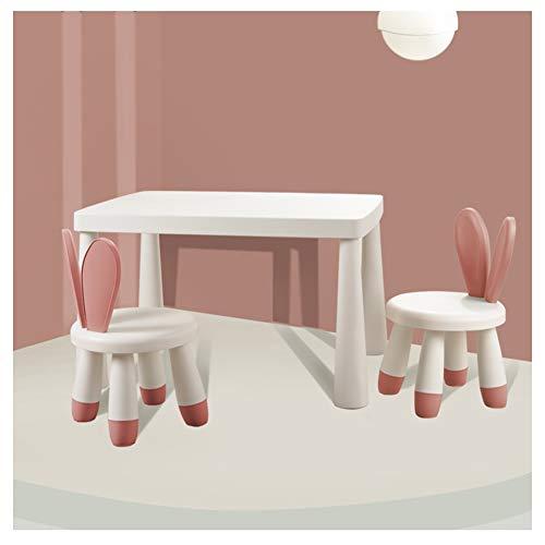 CHAXIA Kindertisch Stuhl Lernen Malerei Spieltisch, Hase Schön Stuhl 1 Tisch 2 Stühle, 3 Farben Erhältlich (Color : B)