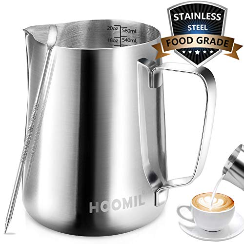 HOOMIL Milk Frothing Pitcher Stainless Steel Espresso Steaming Pitcher 20OZ600ML Coffee Milk Frother Cup with Decorating Art Pen for Espresso Machine Milk Frother Latte Art