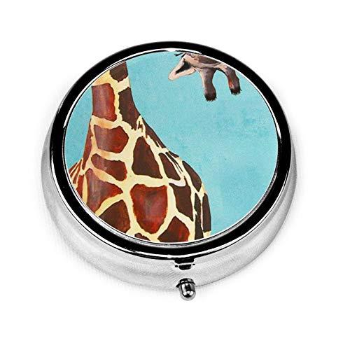 Caja de medicina redonda portátil, mini pastillero de metal, dispensador de pastillas, bolso de mano, regalo de viaje, estampado de jirafa