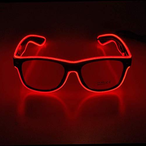 KingCorey Leuchten Sie EL Wire Neon Rave Brille Glow Flashing LED Sonnenbrille Kostüme für Party, EDM, Halloween (Rot)