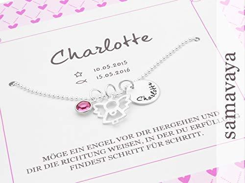 925 Silber Kette Engel Taufkette MEIN ENGEL GEBURTSSTEIN mit Geschenkbox Taufgeschenk für Mädchen mit Gravur