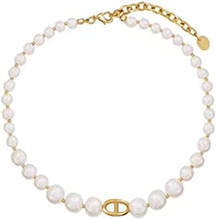 ailov Classic Graduated Pearl Necklace for Women with Golden Charm Synthetic Pearl Choker
