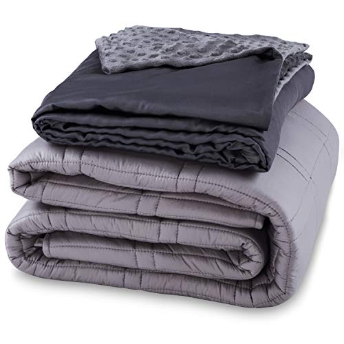 """CoziRest Cooling Weighted Blanket - 12 lbs - 60x80"""" Queen Size Quilt - Cool Bamboo & Cozy Minky Dual-Sided Cover Included - Heavy Blanket for Adults and Kids from 110 - 140 lbs"""