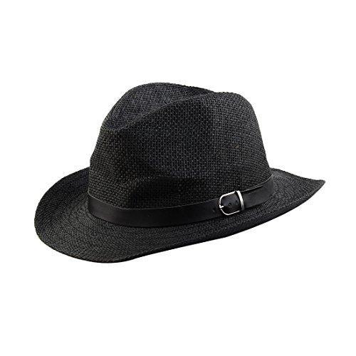 Sourcingmap Homme Paille été Faux Cuir tressé décor Bande Western Chapeau Style Cowboy Cap
