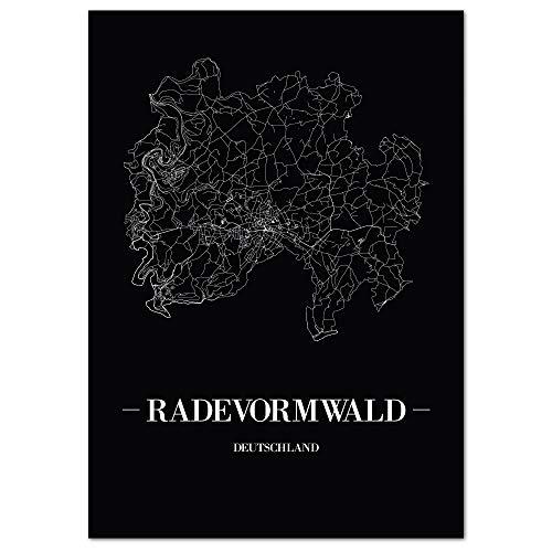 JUNIWORDS Stadtposter - Wähle Deine Stadt - Radevormwald - 21 x 30 cm Poster - Schrift A - Schwarz
