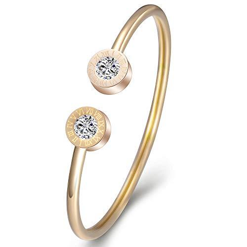 Pulsera De Números Romanos, Pulsera De Diamantes Abierta En Forma De C, Regalo De San Valentín Para Damas