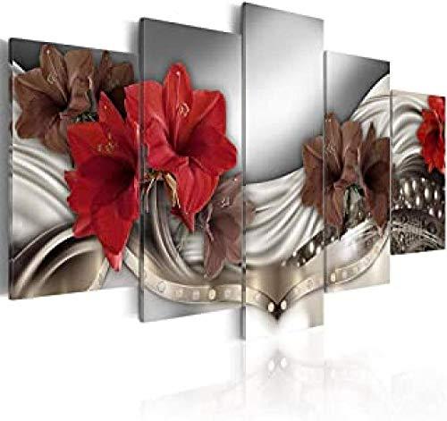QMGLBG 5 Piezas de Pintura Decorativa sobre Lienzo. Flores de Cristal Lienzo...