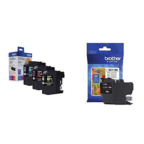 Brother Genuine Standard Yield Color Ink Cartridges, LC1013PKS, Replacement Color Ink Three Pack & Printer LC3011BK Singe Pack Standard Cartridge Yield Upto 200 Pages LC3011 Ink Black