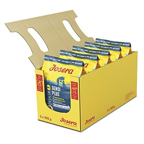 Josera Special, SensiPlus, Hundefutter mit Ente für empfindliche Hunde, Super Premium Trockenfutter für ausgewachsene Hunde, Adult 4,5 kg Vorratspack (5 x 900 g)
