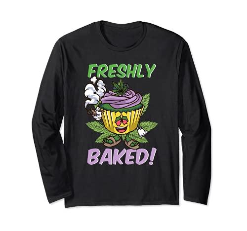 Freshly Baked | Funny Stoner Weed 420 Cupcake Cannabis THC Long Sleeve T-Shirt