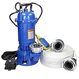 ECD Germany Pompa Sommersa ad Acqua Sommergibile 1500W 1,5kW con Galleggiante + Attacco G2 Storz C + Tubo 20 m - Portata ca. 22.800 l/Ora - 380 l/min - Pompa Immersione per Acque Reflue Fognature