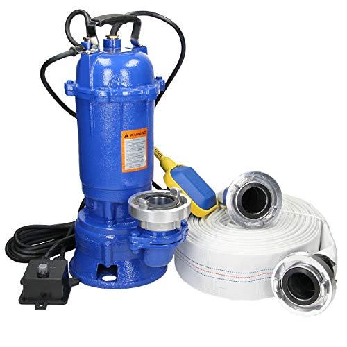 ECD Germany Tauchpumpe 1500W 1,5kW mit Schwimmer + G2 Storz C Kupplung + 20m Schlauch - Fördermenge ca. 22.800 l/Std, 380 l/min - Schmutzwasserpumpe Fäkalienpumpe Wasserpumpe Pumpe mit Bauschlauch