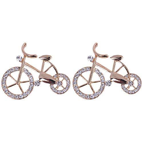 CoSunny - Set di 2 spille per bicicletta con strass, per amanti dell'eleganza
