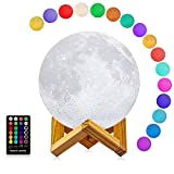LOGROTATE Moon Lamp, 3D Printing 16 Colors LED Moon Light with Stand and Time Setting & Remote & Touch Control, Hanging Lunar Global Lights for Birthday Kids Gifts Lovers Gifts (7 inch)