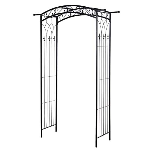 Outsunny Southern/European Style Garden Arbor & Trellis with Beautiful Scrollwork & Arch Design Support Vines & Plants
