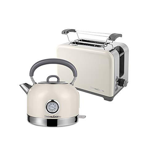 Elektrischer Wasserkocher Vintage Cuisine mit Thermometer und Toaster im Retrostil (CREAM)