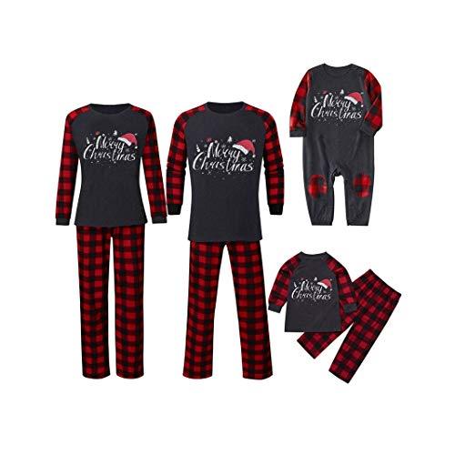 Hunpta - Conjunto de pijama a juego para familia, de Navidad, para parejas, pijamas de manga larga, pantalones de manga larga, mameluco para mujeres, hombres, niños, bebés (niños de 2 años)