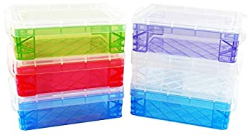 Advantus Crafts Storage Studios Super Stacker 6-Pack of Crayon Box 1.5 x 3.5 x 4.75 inches  Set Comes in Random Color Combinations of Blue Clear Green Purple or Red  Colors Will Vary from Image