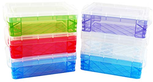 Advantus Crafts Storage Studios Super Stacker 6-Pack of Crayon Box 1.5 x 3.5 x 4.75 inches; Set Comes in Random Color Combinations of Blue, Clear, Green, Purple or Red (Colors Will Vary from Image)