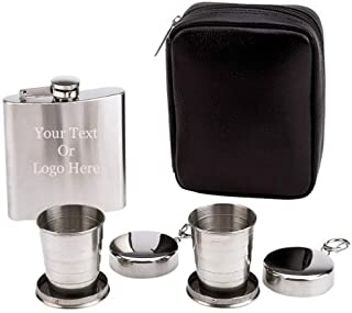 Groomsman 6Oz Flask W/ Collapsible Cup 4pc Flask and Collapsible Cups Set- Free Engraved