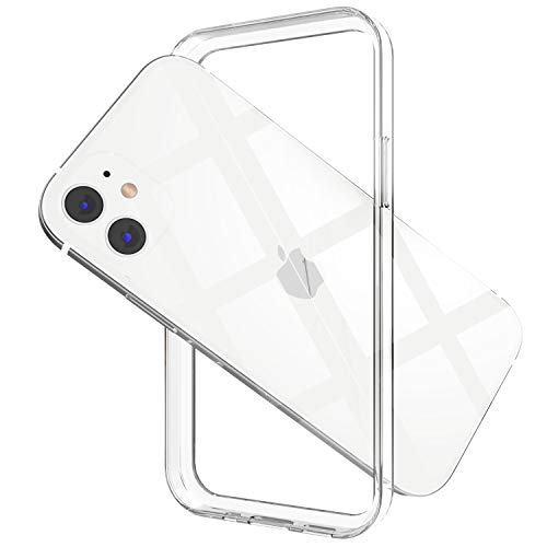 ANHONG Clear Frame Bumper Case Compatible with iPhone 12/12 Pro 6.1 inch, Slim Fit Ultra Thin Super Light PC + Soft TPU No-Back Case