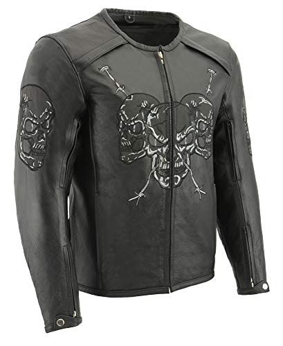 M Boss Motorcycle Apparel BOS11500 Mens Black Leather Armored Racing Jacket with Reflective Skull Design - Small