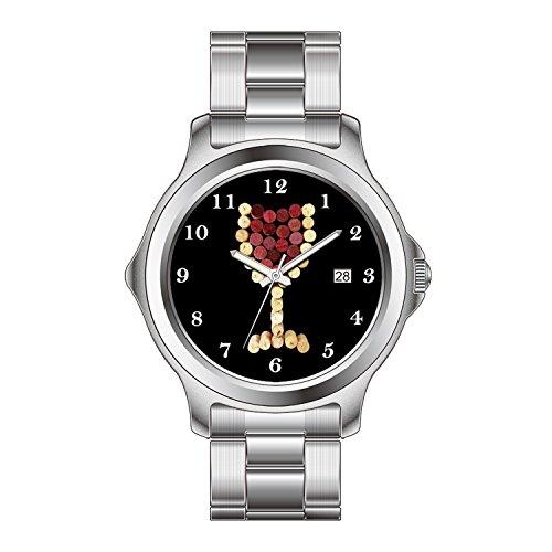 FDC Weihnachten Geschenk Uhren Damen Mode Japanische Quarz Datum Edelstahl Armband Uhr Kork Weinglas Uhr