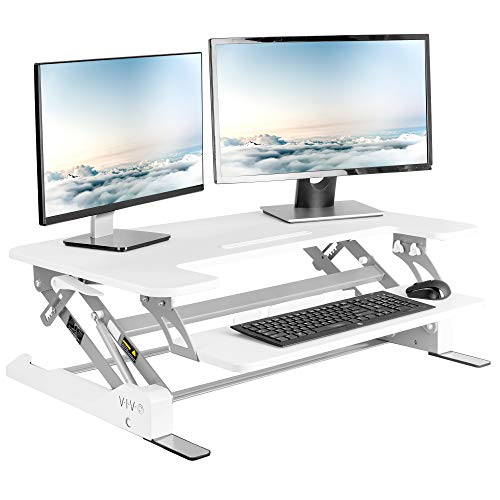VIVO White Height Adjustable 35 inch Standing Desk Converter, Sit Stand Tabletop Dual Monitor and Laptop Riser Workstation, DESK-V000W