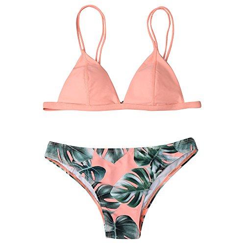 Andouy Bikini Damen Set Bikinis Push Up Zweiteilige Bikinioberteil Bandeau Badeanzüge Triangel Bademode(XL.Rosa)