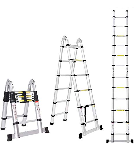 Jiahe12.5FT/3.8M Aluminum Telescoping Extension Ladder Portable Multi-Purpose Folding A-Frame Ladder...