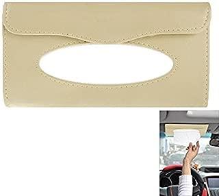 ZESI Car Sun Visor Tissue Paper Box Case Auto Interior Decoration Accessories Holder (Beige)