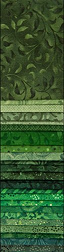 """Wilmington Prints Essential Gems Emerald Forest 24pcs 2-1/2in x 44in Strips, 2-1/2"""" by 44"""", Green, 24 Piece"""