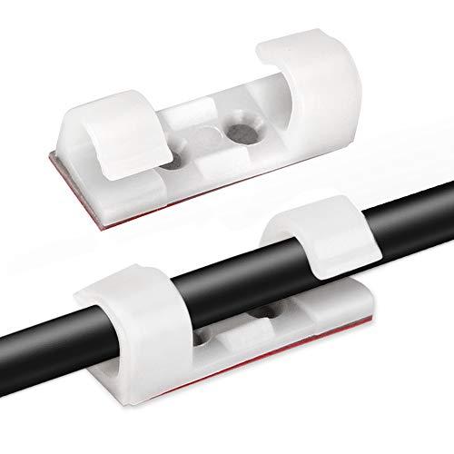 AGPTEK 30 Stück Kabelclips, Kabelhalter mit Klebstoff Gesicherte Unterlage, Kabelklemme Set für Schreibtisch, Netzkabel, USB Ladekabel, Ladegeräte und Audiokabel, 30 Set Kabelclips und Schrauben, Weiß