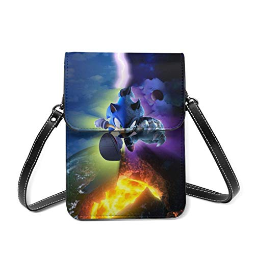 XCNGG Kleine Geldbörse Son-ic Cartoon Cell Phone Purse Small Crossbody Bag Women Leather Mini Cell Phone Pouch Shoulder Bag to Carry Dexterous Convenience with Adjustable Strap Wallets